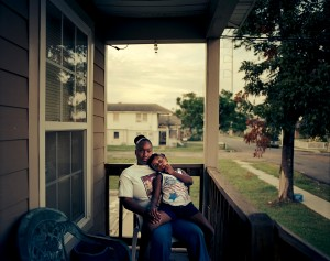 Dakeia Johnson and her daughter Jes-Zahre on the front porch of their upper Ninth Ward home.